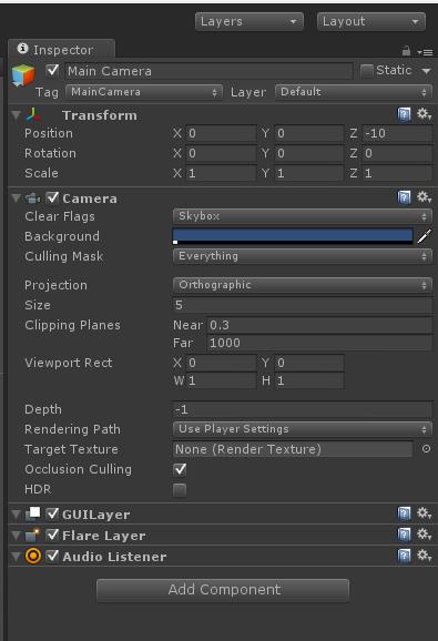 Unity 4 Camera Settings