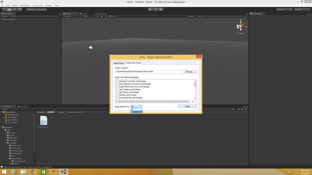 Unity 2D New Project 2D Select